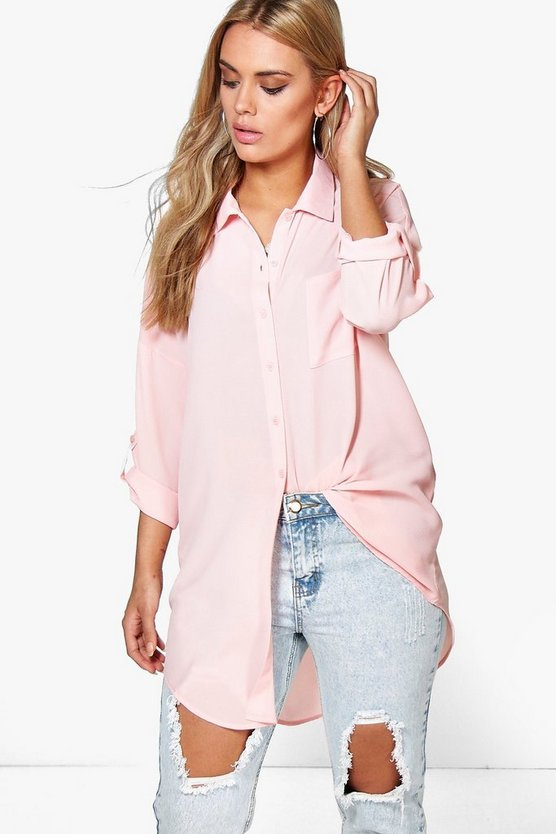 Womens Nude Plus  Oversized Shirt
