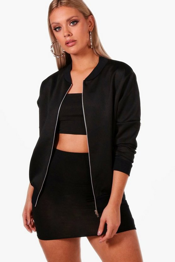 Womens Black Plus MA1 Bomber