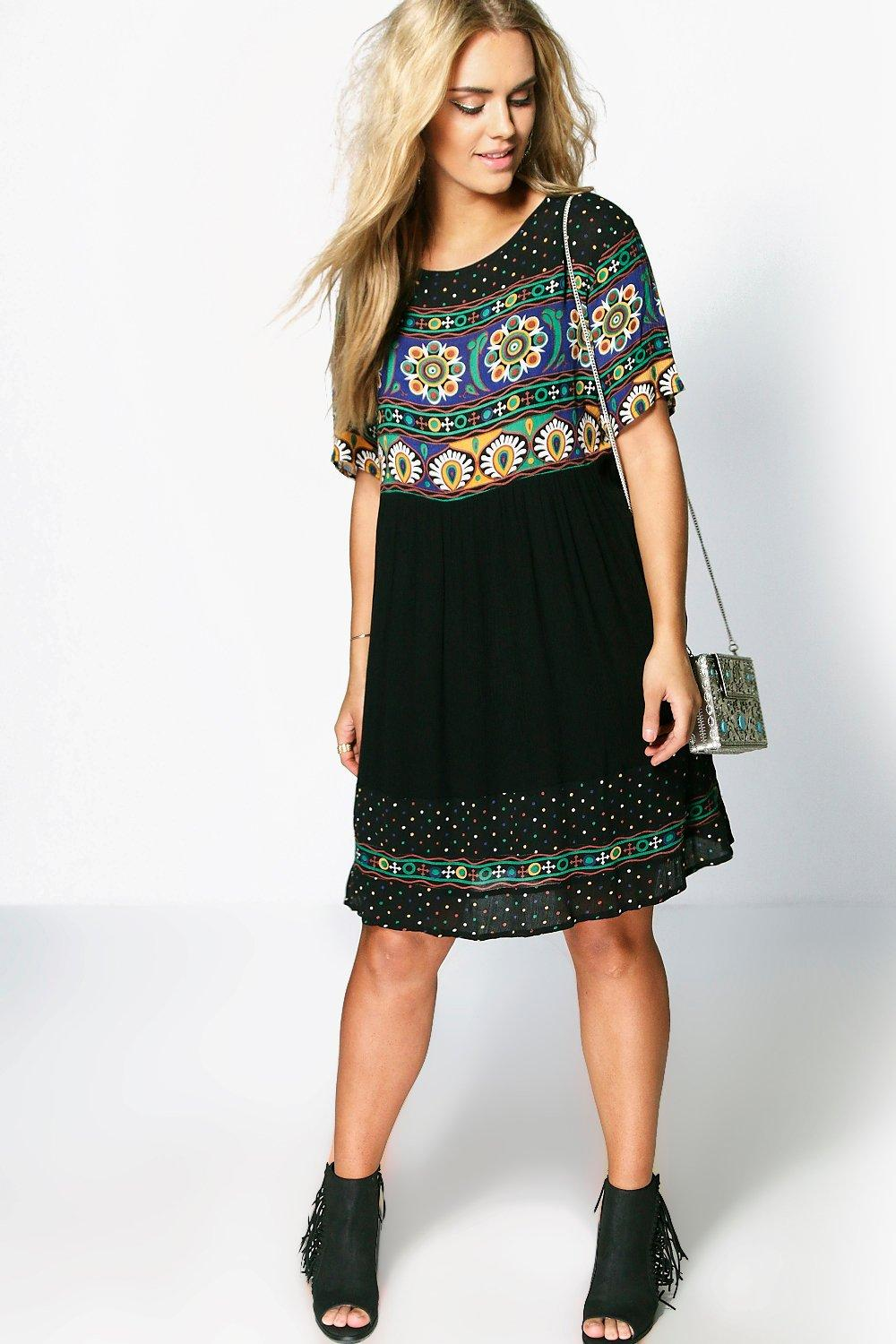 2fc631e0fc8 Plus Retro Print Smock Dress. Hover to zoom