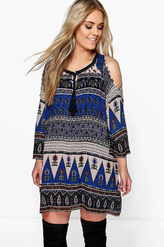 Plus Molly Paisley Open Shoulder Shift Dress
