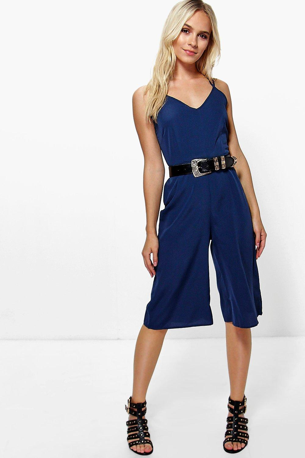 7497339653 Petite Lily Strappy Back Culotte Jumpsuit. Hover to zoom