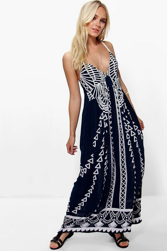 Petite Ruby Mono Coin Back Maxi Dress