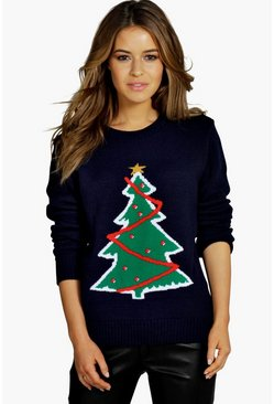 Womens Navy Petite Christmas Tree Sweater