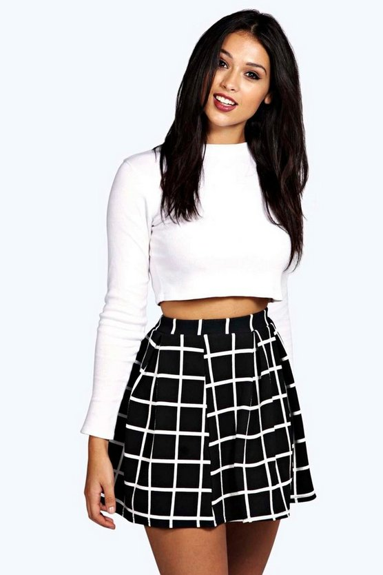 Petite Checked Box Pleat Skater Skirt