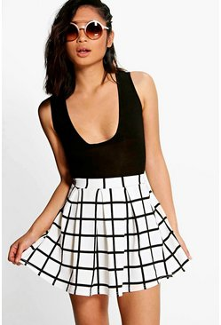 White Petite  Checked Box Pleat Skater Skirt