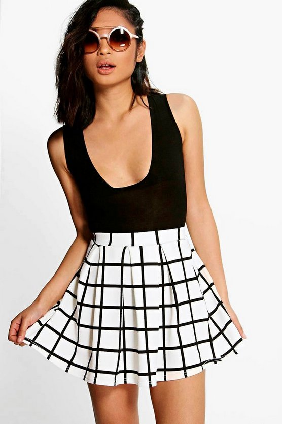 Womens White Petite Checked Box Pleat Skater Skirt
