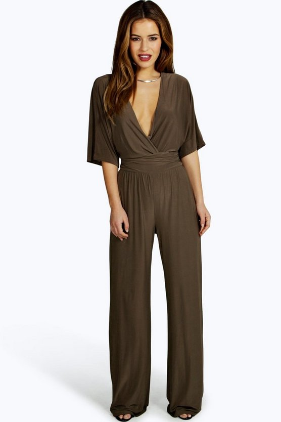 Womens Petite Wrap Front Wide Leg Jumpsuit