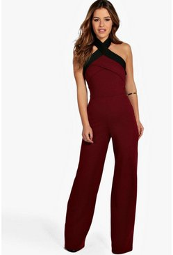 Womens Berry Petite Colour Block Cross Front Jumpsuit