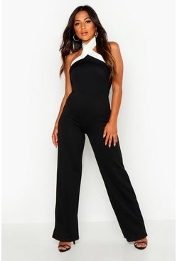 Black Petite  Colour Block Cross Front Jumpsuit