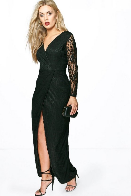 Womens Black Plus  Lace Wrap Front Maxi Dress