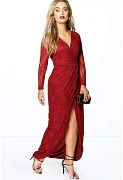 Womens Wine Plus  Lace Wrap Front Maxi Dress