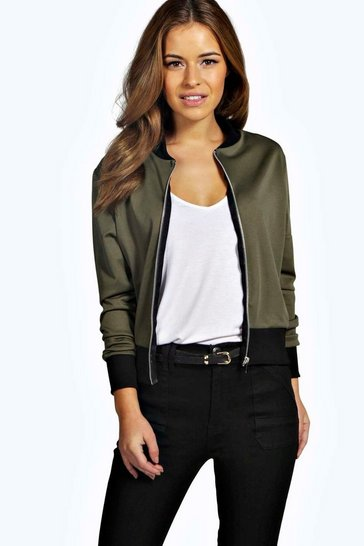 Womens Petite  Scuba Zip Detail Bomber Jacket