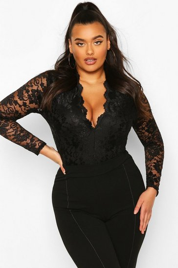 Womens Black Plus  Lace Long Sleeved Bodysuit