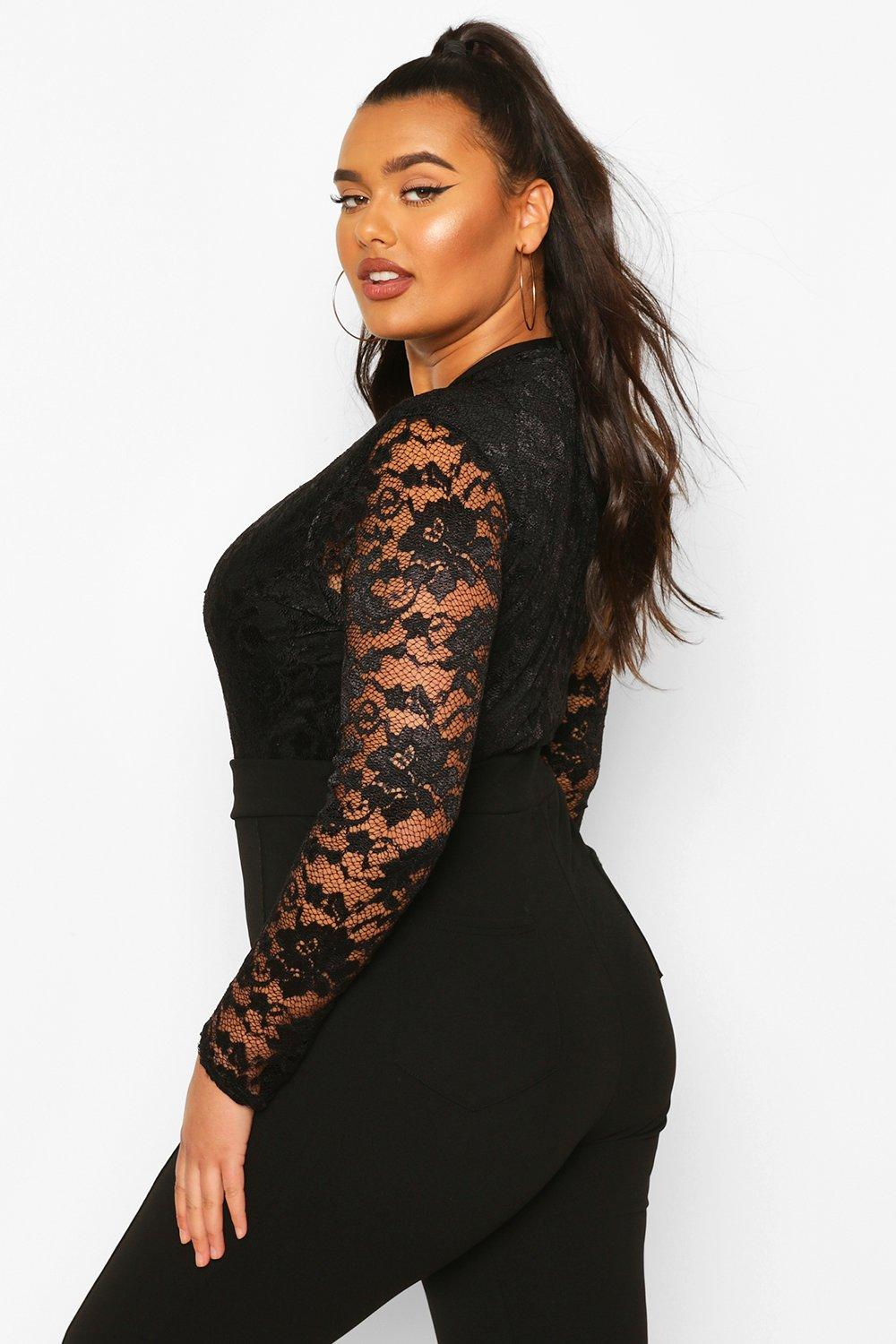 NEW-Boohoo-Womens-Plus-Molly-Lace-Long-Sleeved-Bodysuit-in