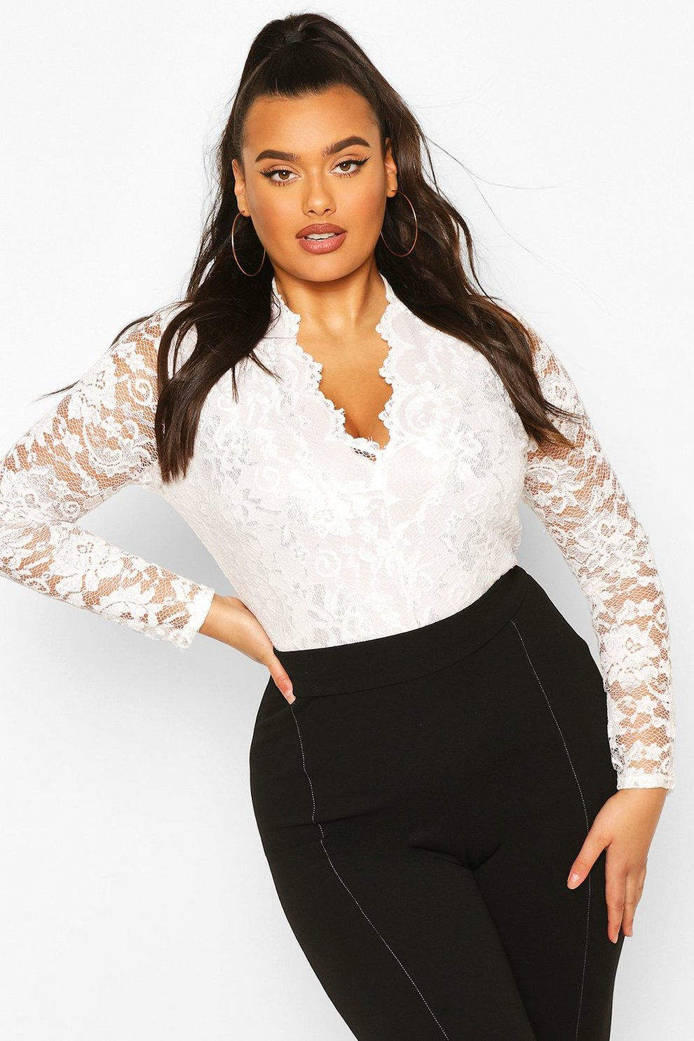 7270e5c1ed Womens Cream Plus Lace Long Sleeved Bodysuit