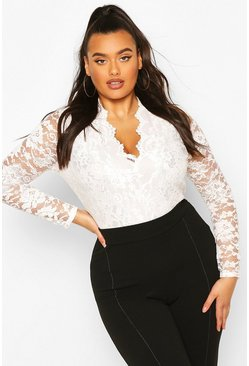 Womens Cream Plus  Lace Long Sleeved Bodysuit