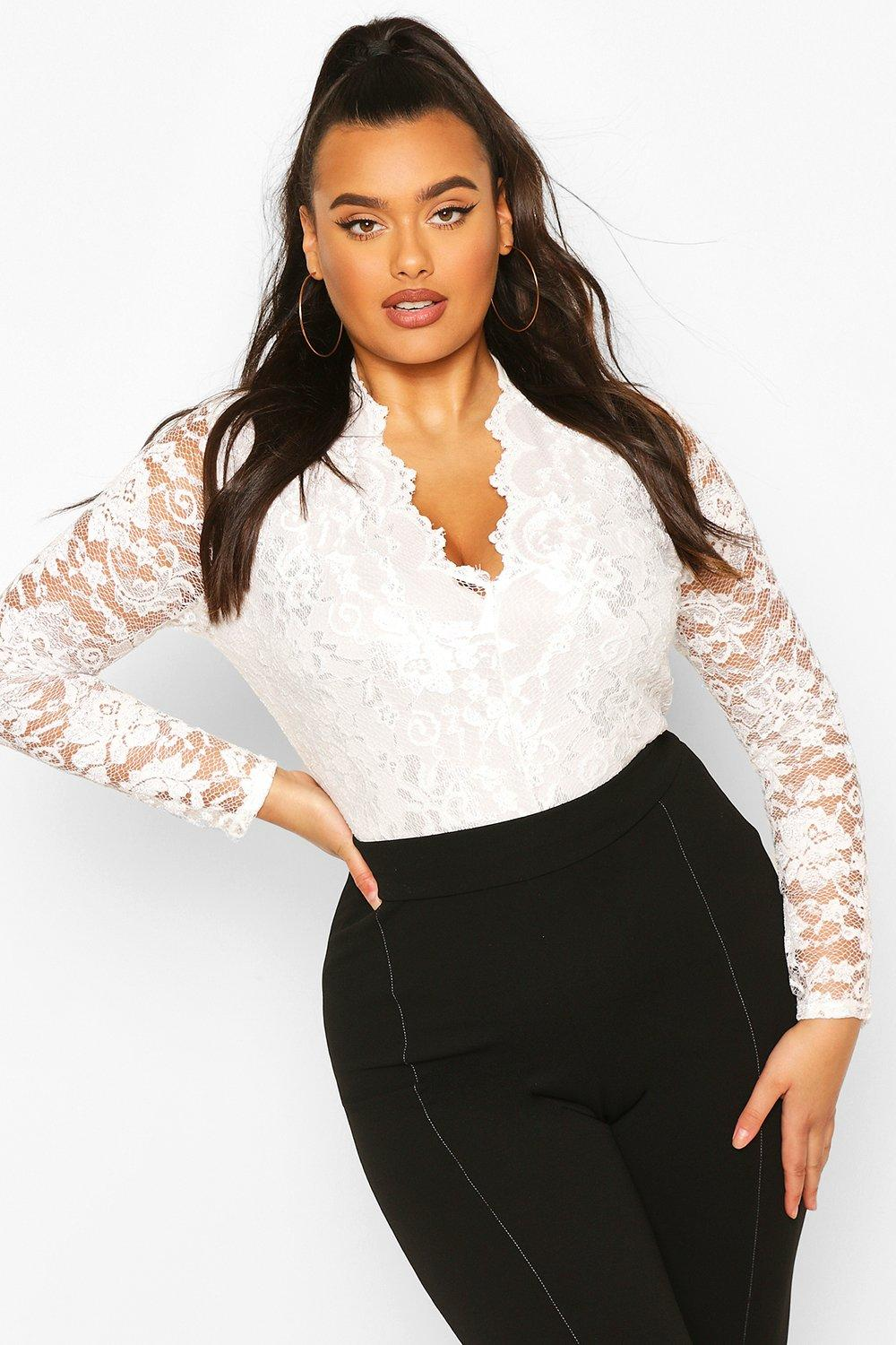 c37faef1ccf6 Womens Cream Plus Lace Long Sleeved Bodysuit. Hover to zoom