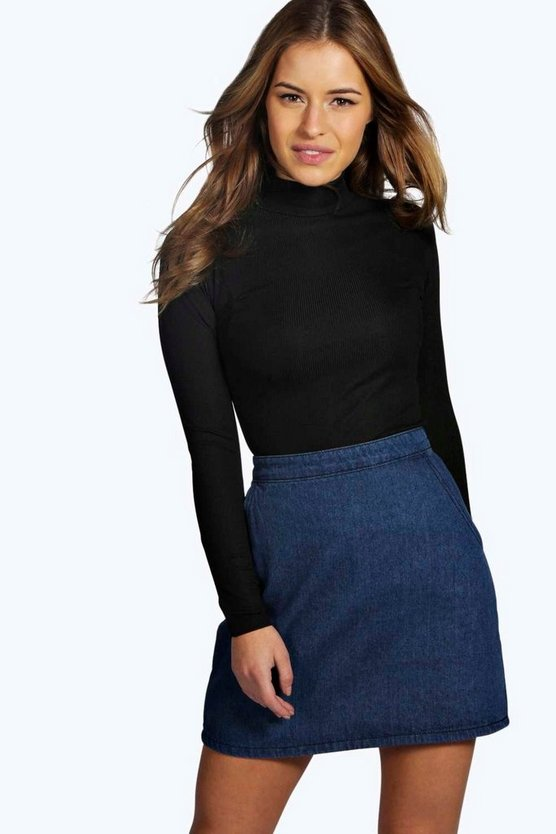 Petite  Long Sleeve Rib Turtle Neck Top