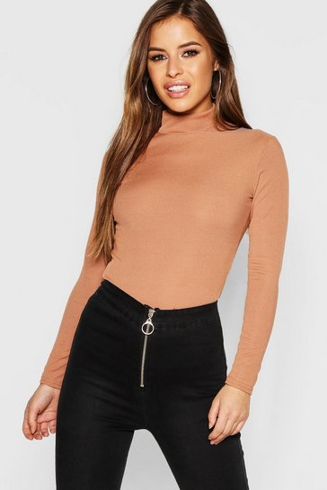 Womens Camel Petite  Long Sleeve Rib Turtle Neck Top