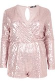 1f476541e2c ... Plus Janine Sequin Wrap Front Playsuit alternative image ...