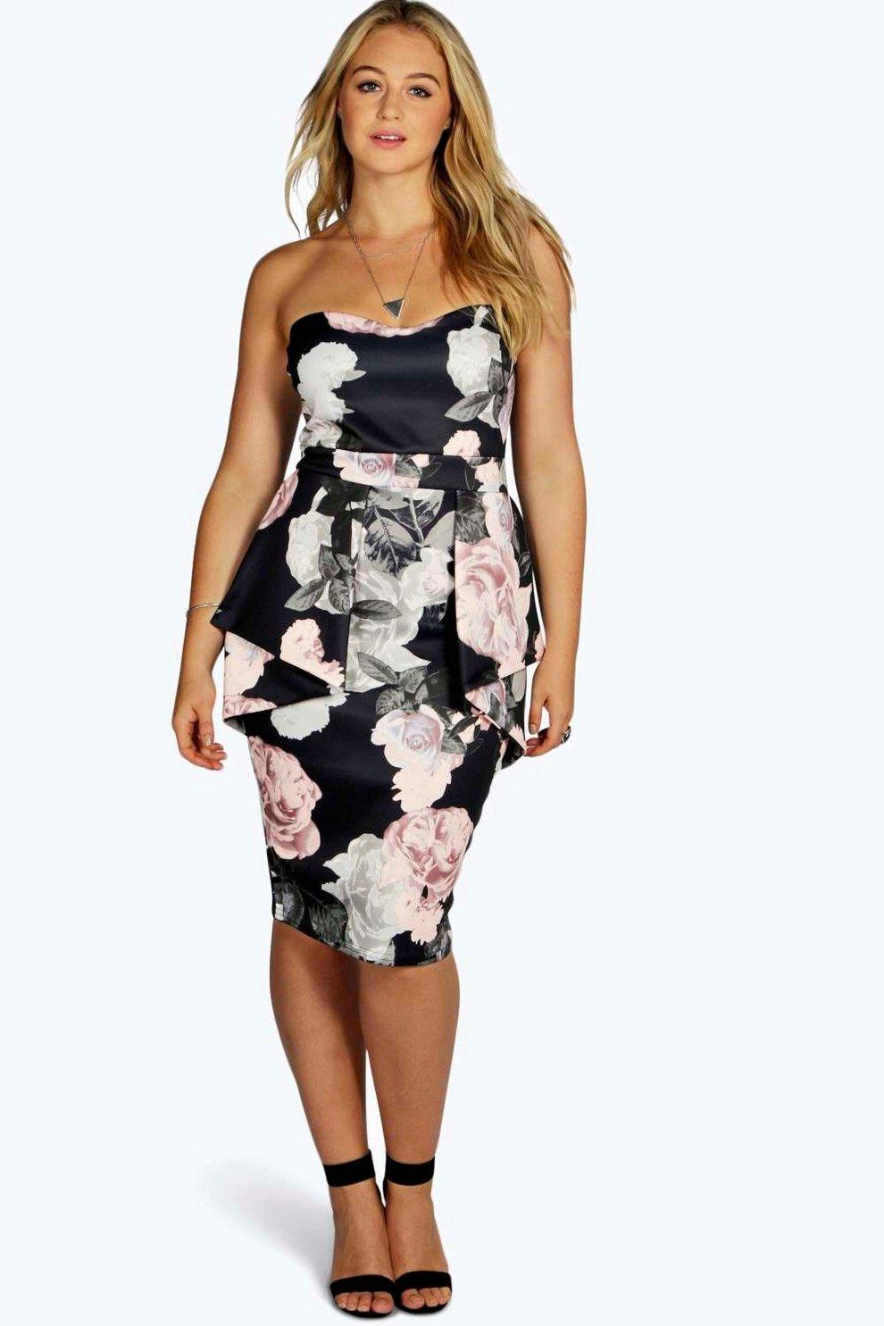 40a84f7ab2 Plus Becky Floral Peplum Midi Dress