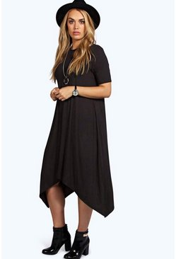 Black Plus  Hanky Hem Swing Dress