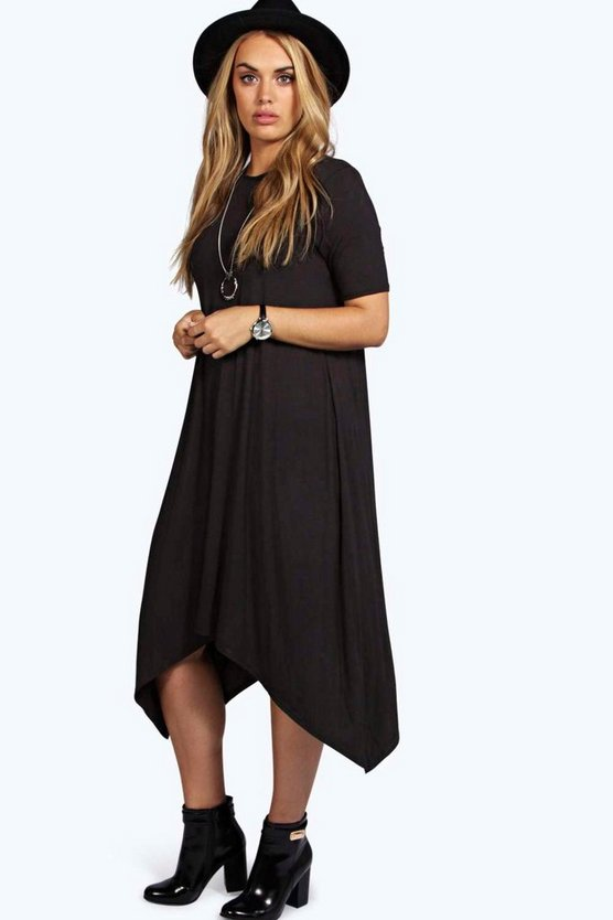 Womens Black Plus  Hanky Hem Swing Dress