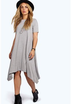 Womens Grey marl Plus  Hanky Hem Swing Dress