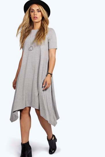Grey marl Plus  Hanky Hem Swing Dress