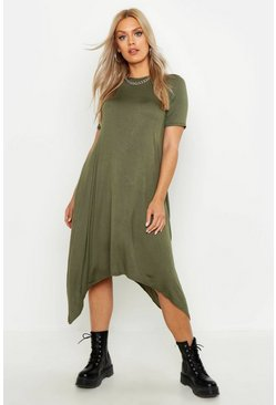 Womens Khaki Plus  Hanky Hem Swing Dress
