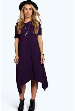 Womens Plum Plus  Hanky Hem Swing Dress