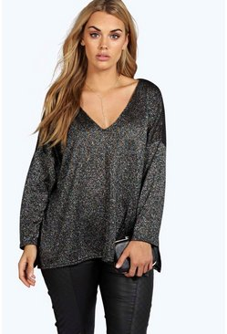 Womens Black Plus  V Neck Split Side Glitter Jumper
