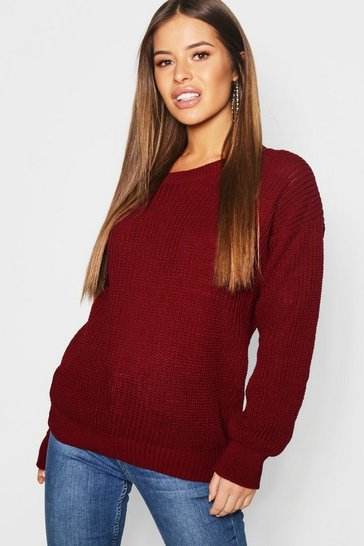 Berry Petite  Oversized Jumper