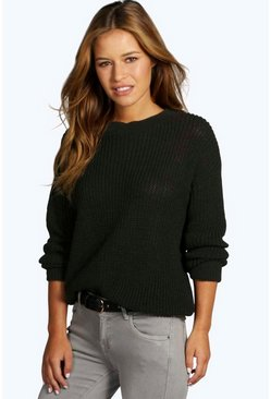 Womens Black Petite  Oversized Jumper