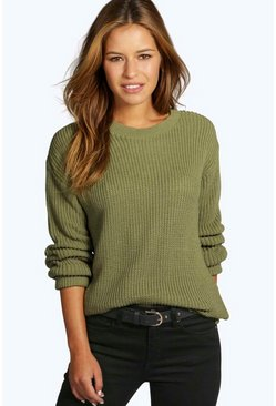 Womens Khaki Petite  Oversized Jumper