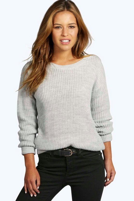 Womens Silver Petite Oversized Sweater