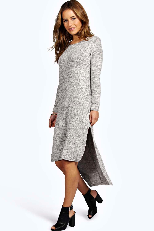 5427e4c9ad7 Petite Binky Marl Fine Knit Dipped Hem Dress