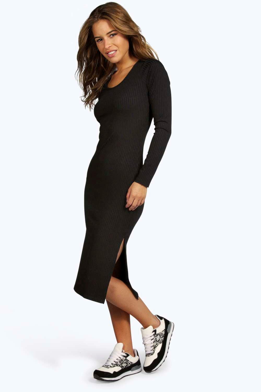 bd4e9d74ee58 Petite Jasmine Rib Side Split Midi Dress. Hover to zoom