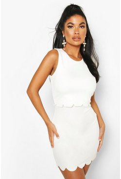 Ivory Petite Double Layer Scallop Hem Dress