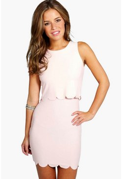 Womens Nude Petite Double Layer Scallop Hem Dress