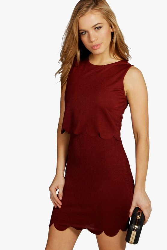 Petite  Double Layer Scallop Hem Dress