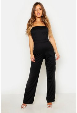 Womens Black Petite  Bandeau Wide Leg Jumpsuit