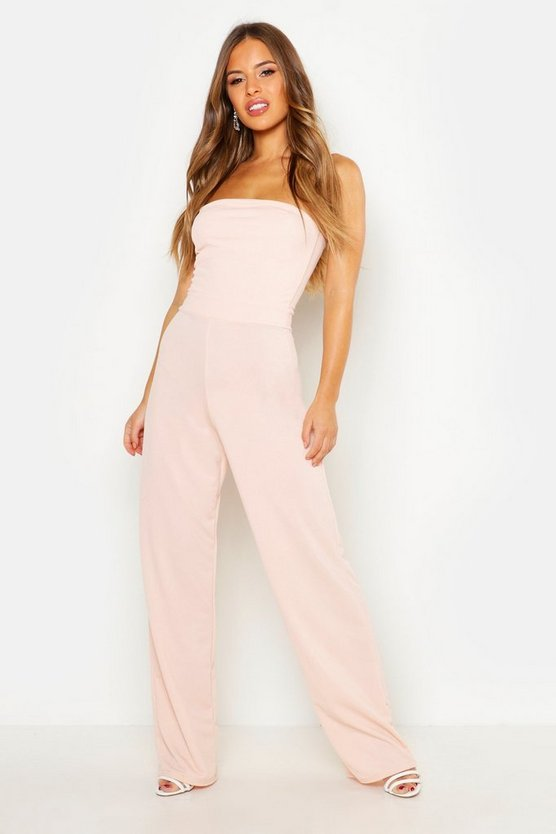 Womens Blush Petite  Bandeau Wide Leg Jumpsuit