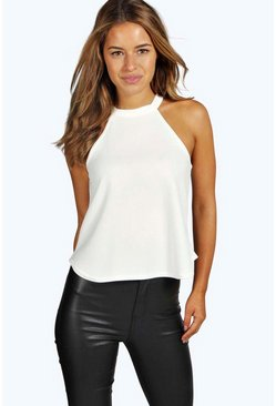 Cream Petite  High Neck Cami Top