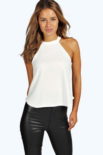 Womens Cream Petite  High Neck Cami Top