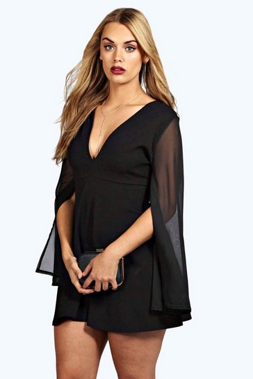 Womens Black Plus  Chiffon Split Sleeve V Neck Dress