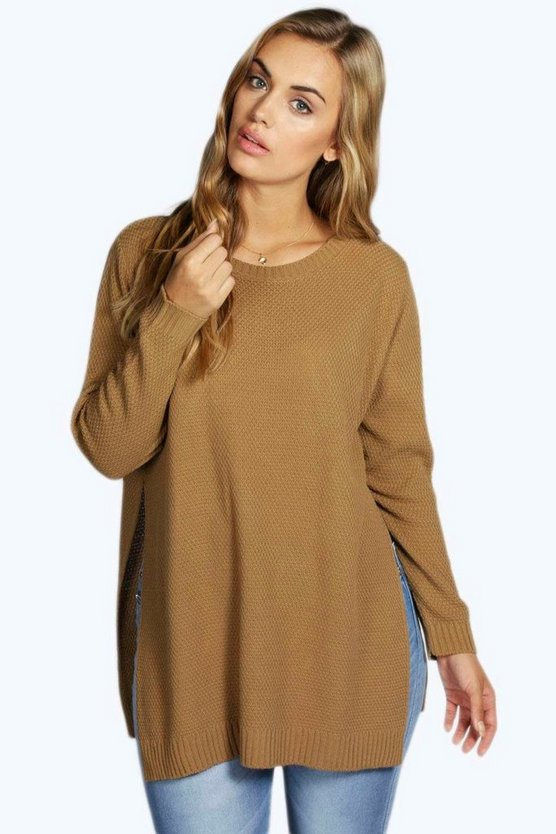 Womens Camel Plus Side Split Moss Stitch Tunic Jumper