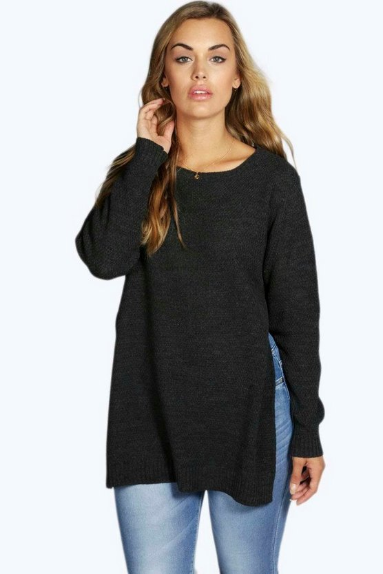 Womens Charcoal Plus Side Split Moss Stitch Tunic Sweater