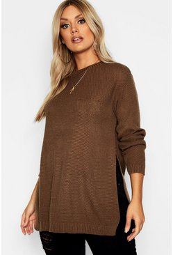 Womens Chocolate Plus Side Split Moss Stitch Tunic Jumper