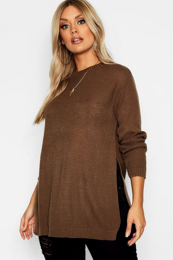 Womens Chocolate Plus Side Split Moss Stitch Tunic Sweater